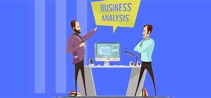 Image two men looking at a computer screen with Business Analyst sign